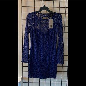 H&M Blue Lace Illusion Dress